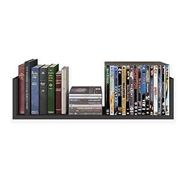 WALLNITURE Contemporary Design U Shape Floating Solid Wood Wall Shelf, Black