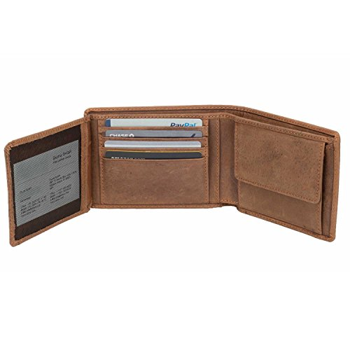 DiLoro Wallets for Men Bifold Flip ID Section Coin Compartment RFID Protection Full Grain Top Quality Vegetable Tanned Leather (Light Hunter Brown) by DiLoro (Image #10)