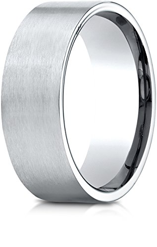 Benchmark 10K White Gold 8mm Comfort-Fit Satin-Finished Carved Design Wedding Band Ring, Size (Carved Band)
