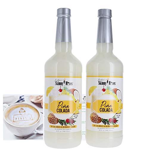 (Jordan's Skinny Mixes - Non-Alcoholic Cocktail Mix Bundle (2 Pack) W/ Premium Penguin Recipe Card (Pina Colada))