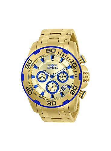 Invicta 22320 Men's Pro Diver Gold Dial Yellow Gold Steel Bracelet Chronograph Watch