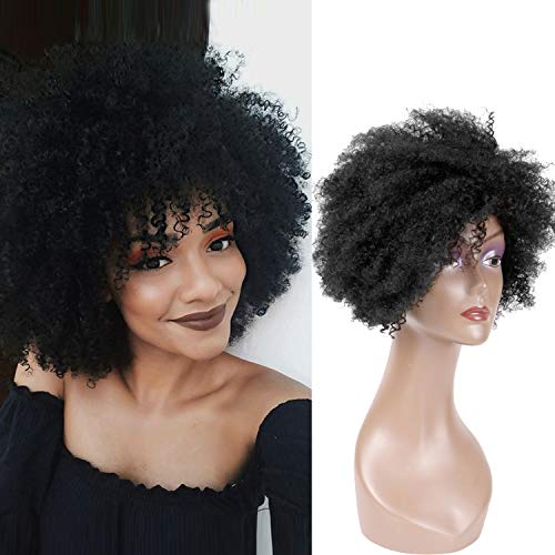 Hairphocas Short Curly Afro Wigs Fluffy Kinky 100% Human Wigs Short Curl Brazilian Remy Hair Wigs for Black Women (S Curl For Women With Short Hair)