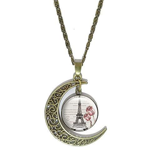 Women Fashion Glass Cabochon Silver Eiffel Tower Pendant Jewelry Necklace