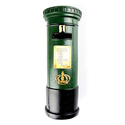 - Chadstone Retro Resin Post Box Ornament British Royal Mailbox Piggy Bank Saving Box Coin Case (Green)