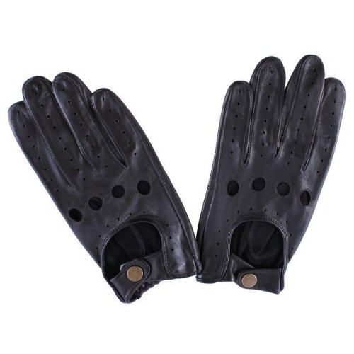 Dents Mens Delta Leather Driving Gloves - Black - Medium