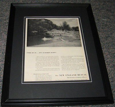 (New England Mutual ORIGINAL 1951 Framed Advertisement Promotional Photo 8x10)
