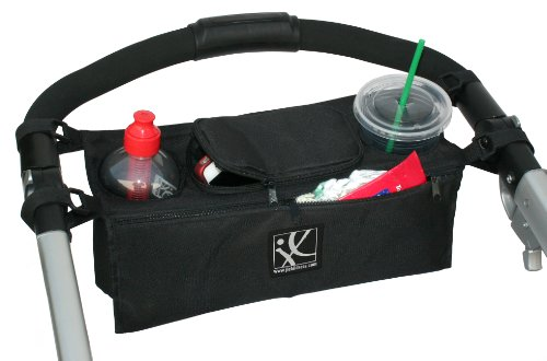 Childress Cup - J.L. Childress Sip 'n Safe, Universal Stroller Organizer with Deep Cup Holders, Zippered Compartments and Secure Pockets, Easy Attach with Velcro Straps, Black