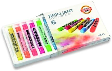 """6er Koh-I-Noor """"Brillant"""" Softpastellkreiden / Zeichenkreiden in 6 fluoresierenden Farbtönen"""