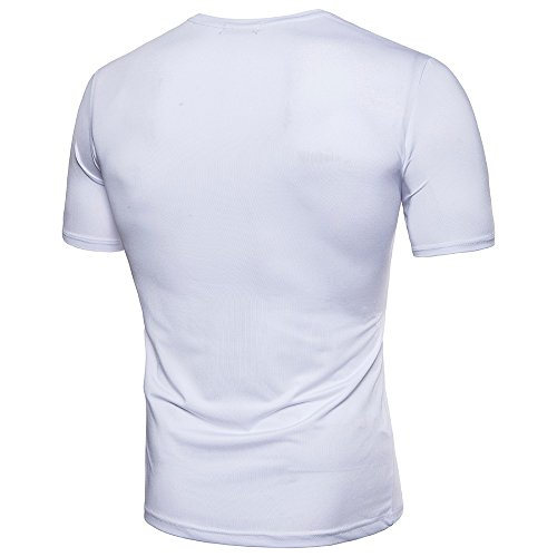Blouse Mode Amlaiworld Cou Top shirt Courte Fit Blanc Manche Hommes O Plier T Causal Slim Pollover w8vwrq