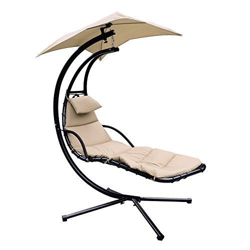 Super Deal Large Beige Hanging Hammock Chaise Lounger Outdoor Swing Chair Canopy Home Patio Yard Arc Stand Air Porch Swing Hammock Chair Canopy