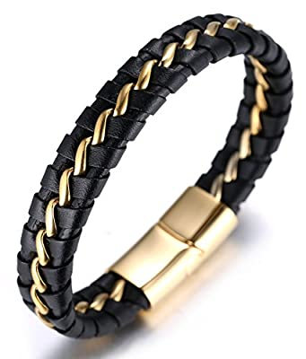 "Halukakah ""SOLO"" Men's Genuine Leather Bracelet with Titanium Chain Silver/Golden/Gun Black 8.46""(21.5cm)"