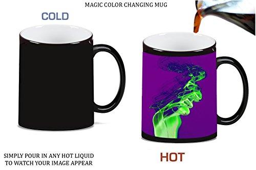 Green Smoke Effect Purple Background Magic Color Morphing Ceramic Coffee Mug Tea Cup by Moonlight Printing