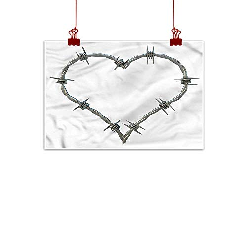 (Sunset glow Wall Painting Prints Barbed Wire,Security Rope Hearts 32