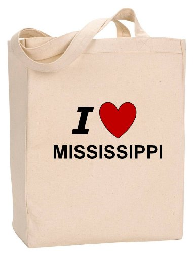 (I LOVE MISSISSIPPI - State Series - Natural Canvas Tote Bag with Gusset)