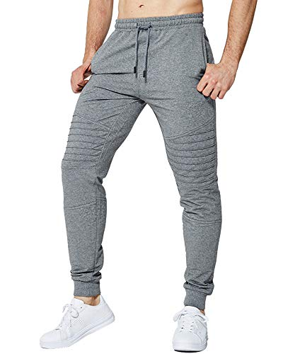 LBL Men's Jogger Sweatpants Workout Running Slim Fit Sports Trousers for Gym Training Grey M (Best Mens Jogger Sweatpants)