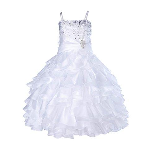 ekidsbridal Rhinestones Organza Layers Junior Flower Girl Dress