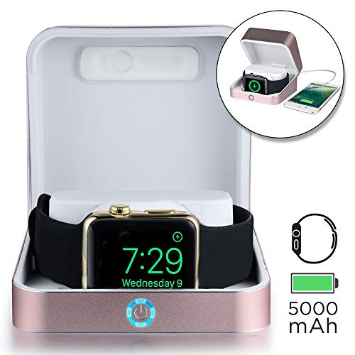 Sumato WatchBox Charging Case for Apple Watch 5 4 3 2 1 [Travel Battery Charger] MFI Certified 5000mAh Power Bank, Charges iWatch & iPhone (Rose Gold)