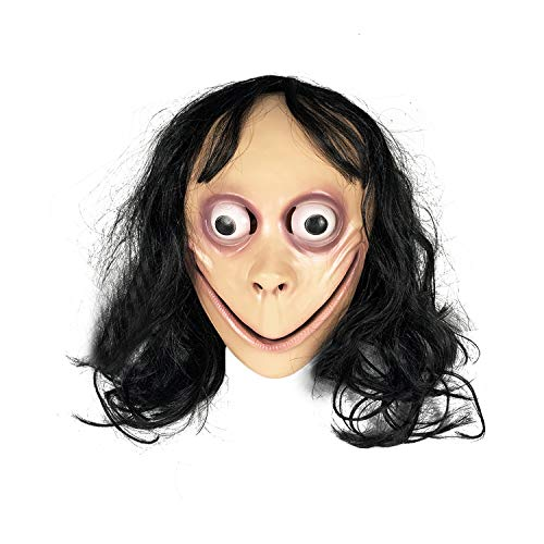 MOMO Mask Larger Holes Design, Scary Real Hair Mask Not Easy to Fall Off for Halloween & Any Party]()