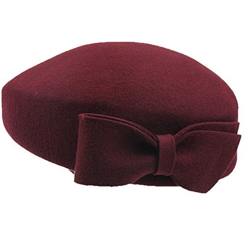Maitose Women's Decorative Bow Wool Beret Cap Claret