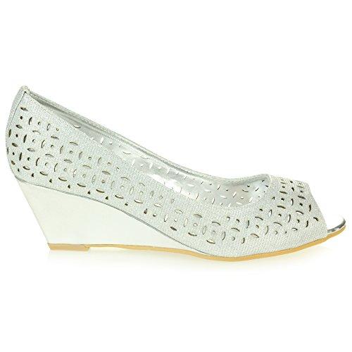 à compensés Chaussures Femmes Travail Argent Enfilr Taille Sandales de Confort Dames Talons Décontractée Peeptoe Intelligent Bureau CxHvRSx7qw