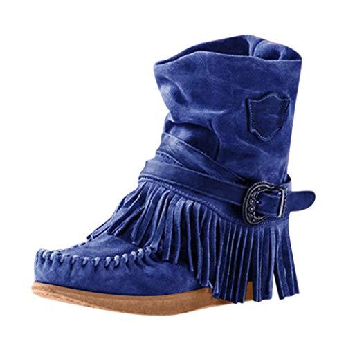 Huaze Women Rome Short Ankle Boots Fashion Round Toe Flock Fringe Boots Casual Comfort Flat Shoes Boots Plus Size