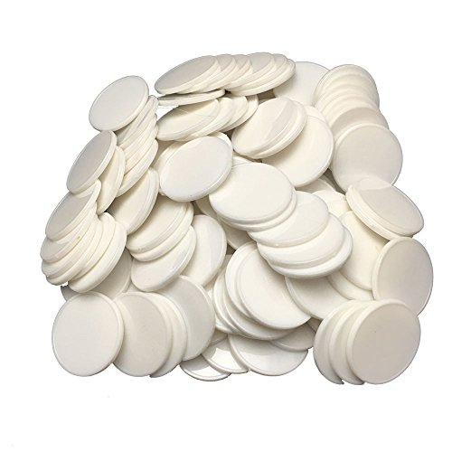 Smartdealspro Set of 100 25MM/1 Inch Opaque Plastic Learning Counting Counters Poker Chips (White) (1 Casino Chip Poker Chips)
