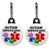 AUTISM SERVICE DOG Medical Alert 2-Pack 1 inch Zipper Pull Charms