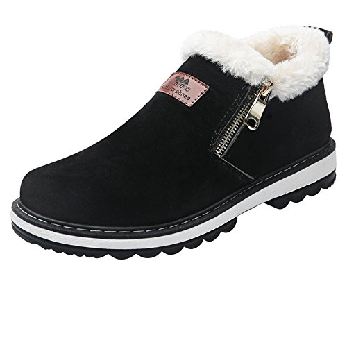 Coolloog Men's High Top Snow Boots Zipper Closed Fur Lined Suede Winter Shoes Black