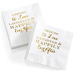 Hortense B. Hewitt 41057 Love, Laughter 50Count Love, Laughter & Happily Ever After Beverage Napkin