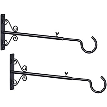Bird Feeders 12 Inch for Planters Decorative Wall Hook Hanging Plant Bracket Wind Chimes Lanterns AILIN 2 Pack Premium Hand Forged Straight Hook Upgrade Black