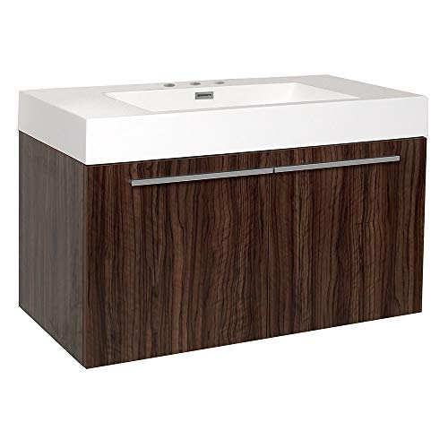 Fresca Vista Walnut Modern Bathroom Cabinet with Integrated Sink ()