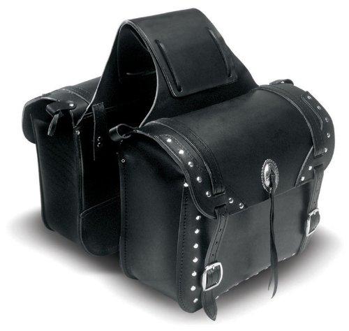 Carroll Leather H7185 Black Large Heavy Leather Saddlebag