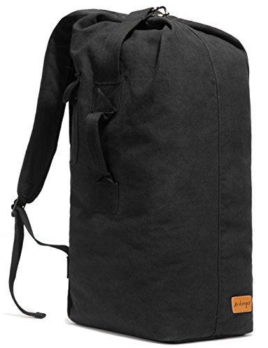 Aidonger Unisex Vintage Canvas Barrel Casual Backpack Hiking Backpack Daypacks (Black) (Barrel Backpack)