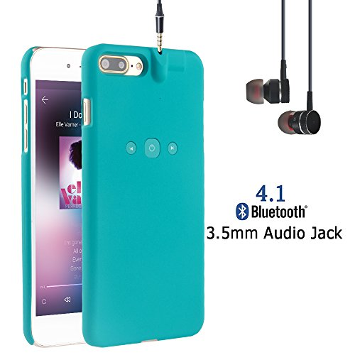 i.VALUX Smart Protective Case for iPhone 7 Plus (Not for iPhone 7) Bluetooth Phone Case with Bluetooth Built-in 3.5mm Earphone Jack Cover Chargeable iPhone Case (Green)