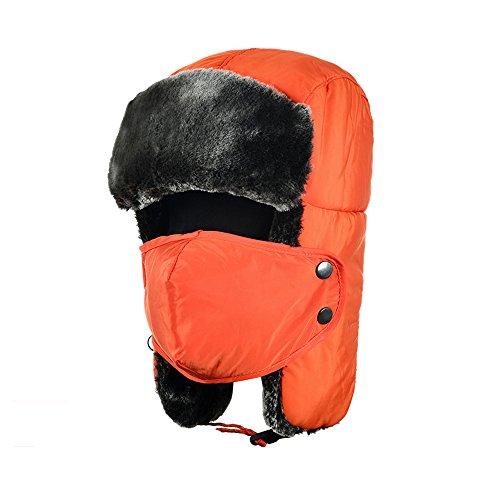Orange Aviator Russo Tofern Hat auricolare impermeabile Inverno Unisex Trapper Chapka Ski peluche wwq86PUx