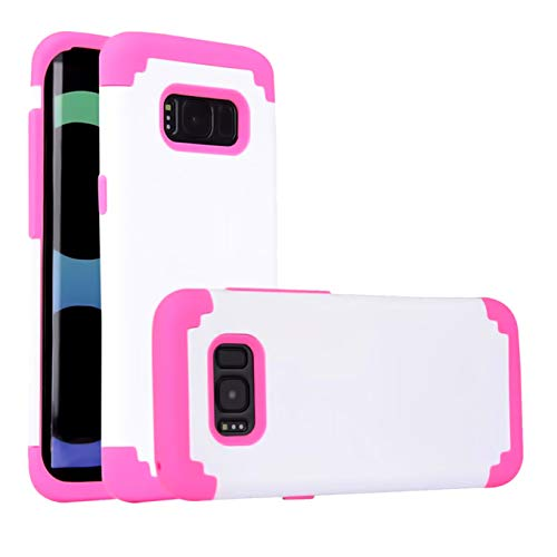 Case Compatible with Galaxy S8 Plus (2017) Cell Phone Case, 2 in 1 Hybrid Hard PC & Soft Silicone Heavy Duty Rugged Bumper Shockproof Skid-Proof Anti-Scratch Anti Slip Full-Body Protective Case,White