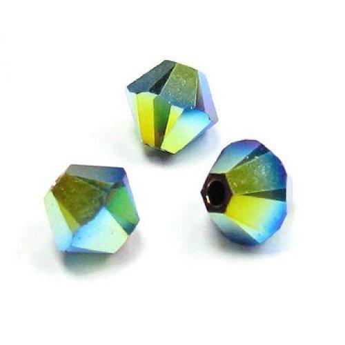 72 pcs Swarovski Elements 5328 Xilion Bicone Crystal Jet Black AB 2X 4mm / Findings / Crystallized Element