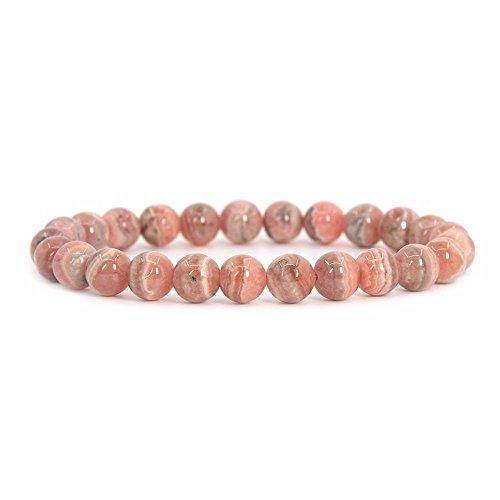 Justinstones Natural Argentina Rhodochrosite Gemstone 8mm Round Beads Stretch Bracelet 7