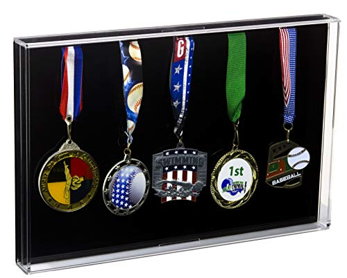 Deluxe Acrylic Five (5) Medal Award Display Case with Wall Mount for Military/Sports/Events (A080)