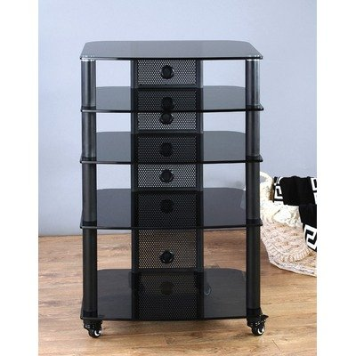 5 Shelf Audio Rack in Multiple Finishes Frame Color: Black, Glass Color: Clear