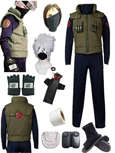 YOUYI Comic Naruto Hatake Kakashi Cosplay Costume Halloween Full Suit (Male S) Green -