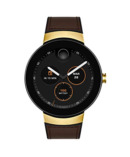 Movado Connect Digital Smart Module Yellow Gold Smartwatch, Black/Gold/Brown (Model (Movado Black Clock)