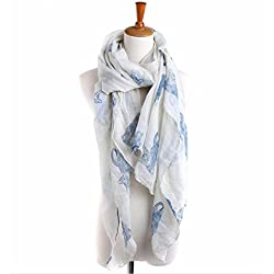 Tuscom Women Ladies Cat Print Long Scarf Warm Wrap Shawl(90cm×180cm) (White)