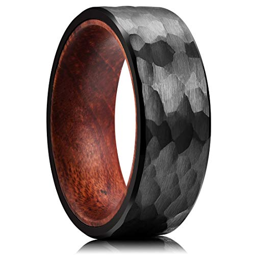 King Will 8mm Black Tungsten Carbide Ring Inner Hole Inlaid Wood Hammered Texture Flat Style 10