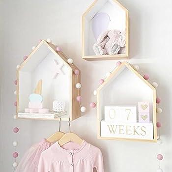 Pueri House Shape Wooden Wall Storage Shelf Display Hanging Shelving Children's Room Decoration (White)