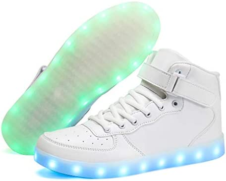 Voovix Unisex LED Shoes Light Up Shoes High Top Sneakers for Women Men / US