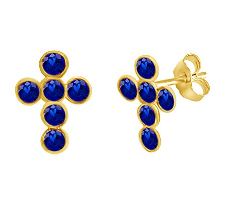 (Mothers Gift Simulated Blue Sapphire Cross Stud Earrings 14K Yellow Gold Over Sterling Silver)