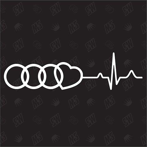 Audi Herzschlag - Sticker, Tuning Fan Aufkleber, Ringe mit Herz speedwerk-motorwear