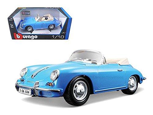 BBURAGO 1:18 1961 PORSCHE 356B CABRIOLET BLUE DIECAST CAR 18-12025BL ()