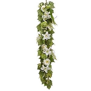 SilksAreForever 6' Silk Casablanca Lily, Hydrangea & Fern Flower Garland -White/Green 53